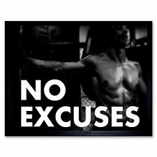 Gym Motivational Quote No Excuses 12X16 Inch Framed Art Print