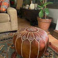 Moroccan Hand Made Pouf Leather Luxury Ottomans Footstool Cover wedding gift