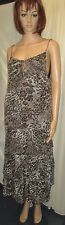 M&S BROWN MIX SHEER LINED CRINKLE STRAPPY DRESS WITH FAINT GOLD STRIPES SIZE 16
