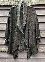 CREA CONCEPT Charcoal Grey Flecked Wool Lagenlook Style Unlined Coat UK12 EU40