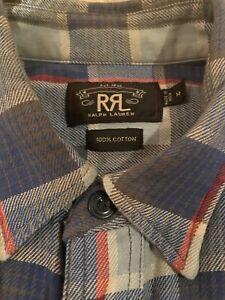 Double RL Ralph Lauren RRL Checked Shirt Light Blue Mens M Medium