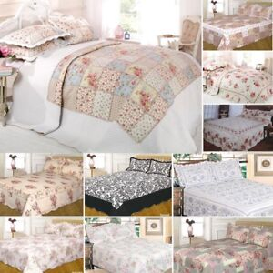 Quilted Floral Vintage Patchwork Bedspread Bedding Throw + 2 Matching Pillowsham