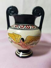 Vintage Miniature Matte Black/Beige Art Pottery Two Handle Vase