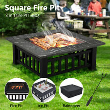 32'' Outdoor Fire Pit Firepit Patio Heater Brazier Garden Square Stove Burner