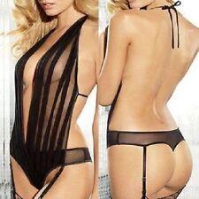 1113 - Black Pleated Sheer Mesh Front Open Back Garter Teddy Body Lingerie 12/14