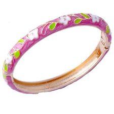 Charm Womens Gold Filled White Flower Green Leaves Enamel Bangle Cuff Bracelet