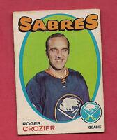 1971-72 OPC  # 36 SABRES ROGER CROZIER  GOALIE CARD