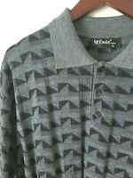 ST. CROIX Men's Knits Sweater Polo Short Sleeve Cotton Blend XL Gray Triangles