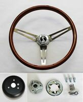 1965-1969 Mustang Wood Steering Wheel High Gloss Finish Cobra Cap 15""