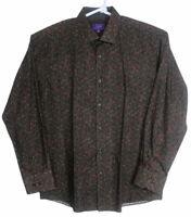 TALLIA Mens Button Down Long Sleeve Shirt Size Large 16.5 Brown Red Floral