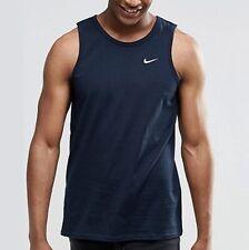 26d01146 Nike Vest Tank Top Foundation Small Tick Swoosh Summer Fashion Sports  Running L Navy