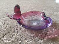 Salviati Murano Glass Venice Italy Glass dish bowl w/ bird Vintage EXCELLENT