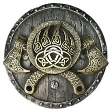 Viking Axes on the Shield Iron Brass Wall Sculpture Home Decor Birthday Gift