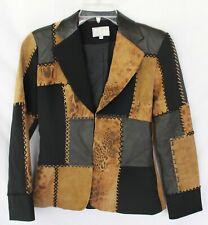 Alberto Makali  Animal Print Leather Patchwork Blazer Jacket Size XS 2 EUC