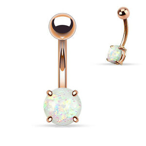 PAIR 14G ROSE GOLD TITANIUM STEEL PRONG SET WHITE OPAL NAVEL BELLY BUTTON RING