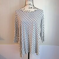 J Jill Wearever Black White Animal Print 3/4 Sleeve Top Womens Size Medium