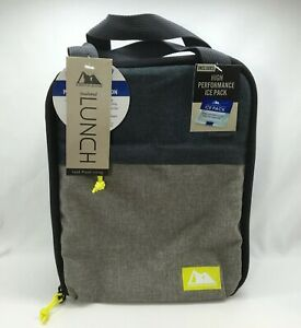 Arctic Zone Lunch Bag (Lunch Box) with Ice Pack, Denim Blue & Gray