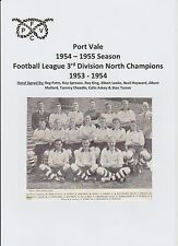 PORT VALE 1954-1955 SEASON RARE ORIGINAL HAND SIGNED TEAM GROUP 9 X SIGNATURES