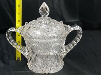 Antique American Brilliant Glass Covered Two Handled Bowl