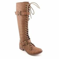 Rocket Dog Women's Boots Beany Lace Up Leather Knee High Zip Boots Tan 7.5M