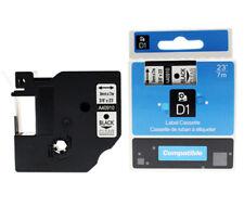 """Dymo D1 40910 Black on Transparent Compatible OEM Label 9mm 3/8"""" Tape"""