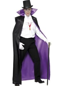 Deluxe Dracula Cape Mens Purple & Black Vampire Fancy Dress Halloween Cloak