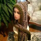 Camouflage greens and browns Hoodie With attached  Scarf  Adult Sz Acrylic