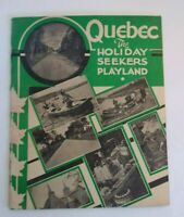 Antique Travel Brochure Booklet Quebec Canada 1939 The Holiday Seekers Playland