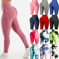 Women Anti-Cellulite Yoga Pants High Waist Push Up Leggings Pockets Trousers Gym