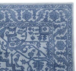 Floral Light Blue Oriental Oushak Hand-Tufted 100% Wool Area Rug Carpet