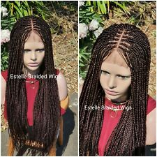 "Knotless Braided Wig, Dark Brown Wig, Lace Front 4""x4"", 3 Parts Braids Wig, 26"""