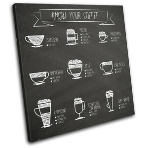 Coffee Chart Food Kitchen SINGLE CANVAS WALL ART Picture Print