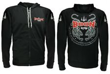 BOON SPORT HDT SCREEN PRINTED TIGER HOODY SUIT BLACK  MUAY THAI BOXING MMA K1
