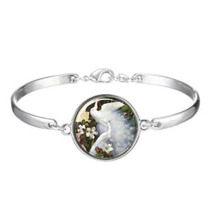 White, peacock,Photo Cabochon Tibetan silver Glass bracelet jewelry Bracelets