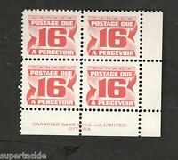 Canada SCOTT #J37ii Postage Due Plate block MNH
