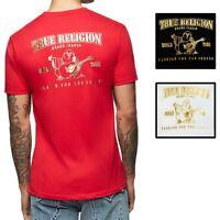 True Religion Men's Metallic Gold Double Puff Buddha Logo Tee T-Shirt