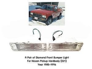 Pair front bumper turn signal light for Nissan Navara D21 Hardbody Pickup 85-97