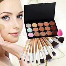 15 Color Pro Contour Cream Concealer Palette+11pcs Makeup Brush Powder Puff Kit