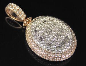 "Real Baguette Diamond 3D Custom Pendant 10K Two Tone Rose White Gold 4.7 CT 1.6"""