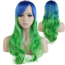 Long Curly Wavy Rainbow Wigs Women's Cosplay Costume Full Wig Party Pink Red SS9