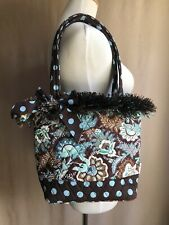 Belvah Tote Shoulder Bag Purse Brown Blue Flower Polka Dot Zipper Closure W/feet