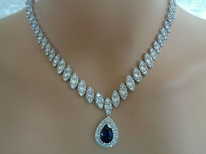 18K WHITE GOLD OVER SAPPHIRE DIAMOND NECKLACE EARRING SET BRIDAL, COCKTAIL PARTY