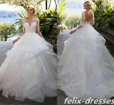 Long Sleeve White/Ivory A Line Wedding Dress Lace Tulle Ruffles New Bridal Gown