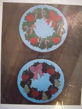 Holly Wreath machine applique Christmas home decor apples pears candy canes