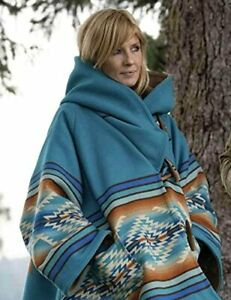 Vintage Horn Beth Dutton Blue Hooded Kelly Reilly Jacket Poncho Coat for Ladies