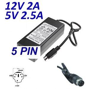Cargador Corriente 12V 2A 5V 2.5A 5 PIN DIN WD Elements 500GB WD5000C035-000