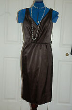 NEW Sz10 Black Satin Sleeveless dress with Wrap over V neck bust Ruched Waist