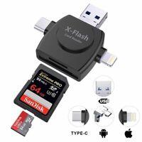 4 in 1 USB / Typ-C/ Apple / Micro SD/ TF Kartenleser Adapter Für IOS Android Neu