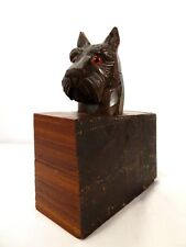 Antique BLACK FOREST WOOD CARVED SCOTTIE DOG INKWELL & BOOKEND Terrier Head Art
