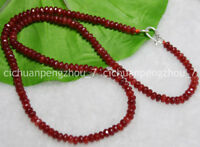 Faceted 2x4mm Brazil Red Ruby Rondelle Gems Beads Necklace 16-24'' Silver Clasp
